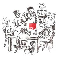 Zeichnung eines Ortsvereinsstammtisch